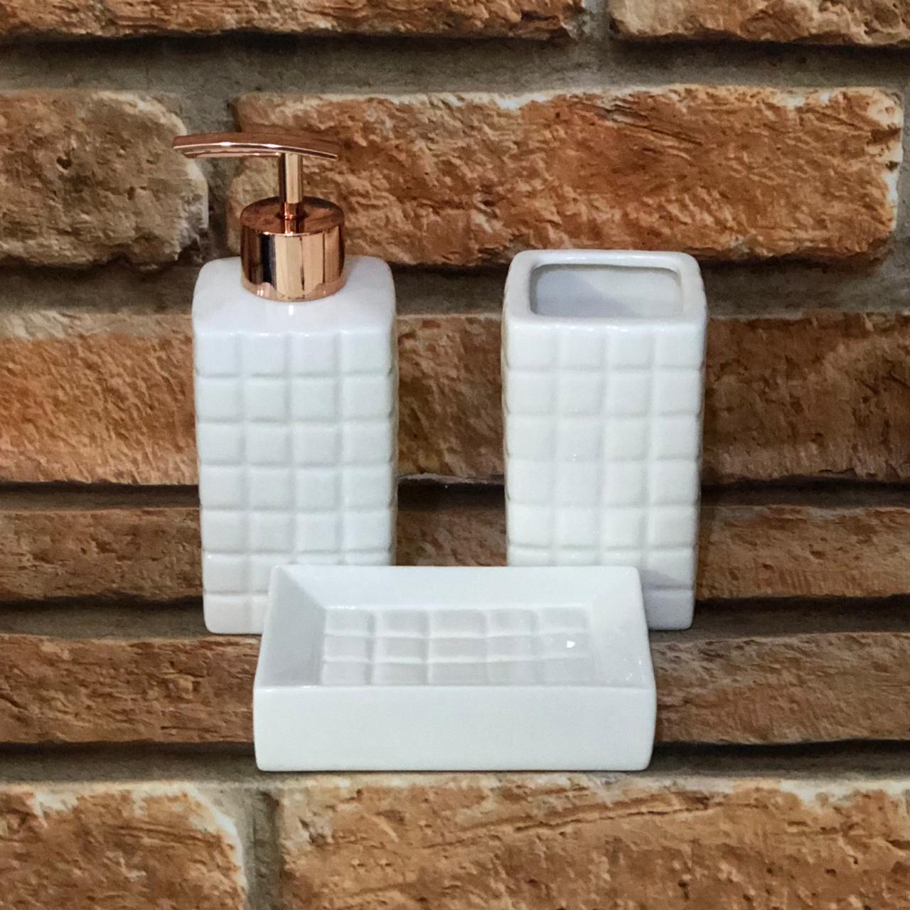 Kit de Banheiro 3 peças de Porcelana Branco Quadriculado