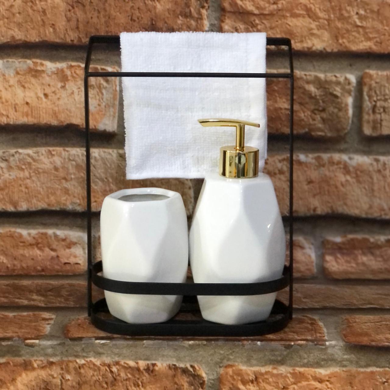 Kit Banheiro 2 peças de Porcelana Moderno com Toalha