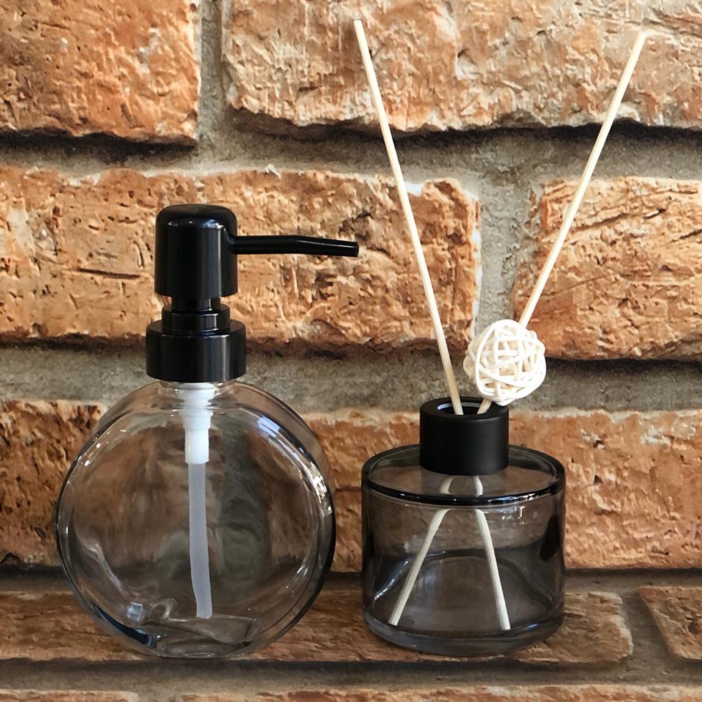 Jogo de Dispenser e Frasco para Difusor de Aromas em Vidro