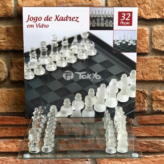 Jogo de Xadrez em Vidro Luxo 32 pçs