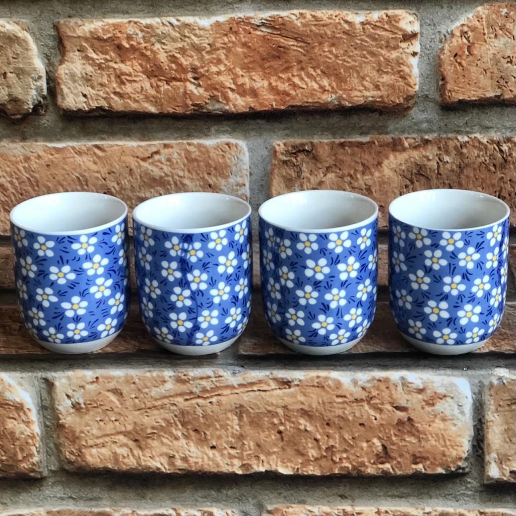 Kit 4 Copos de Chá Cerâmica Floral