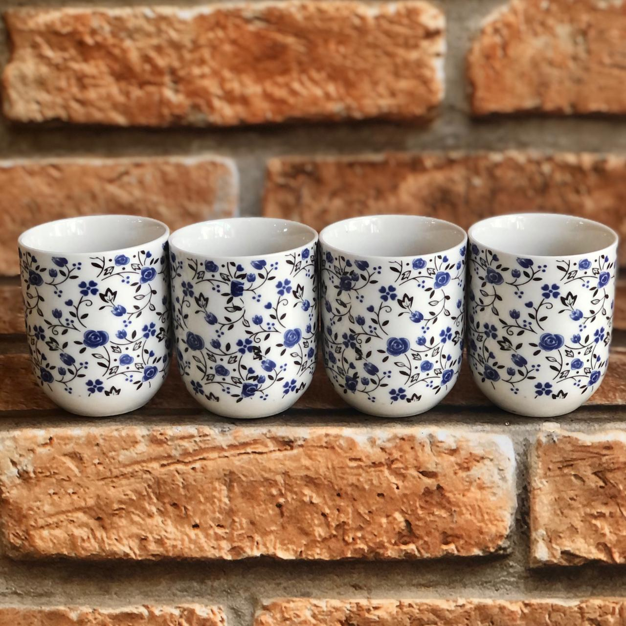 Kit 4 Copos de Chá Cerâmica Mini Rosas
