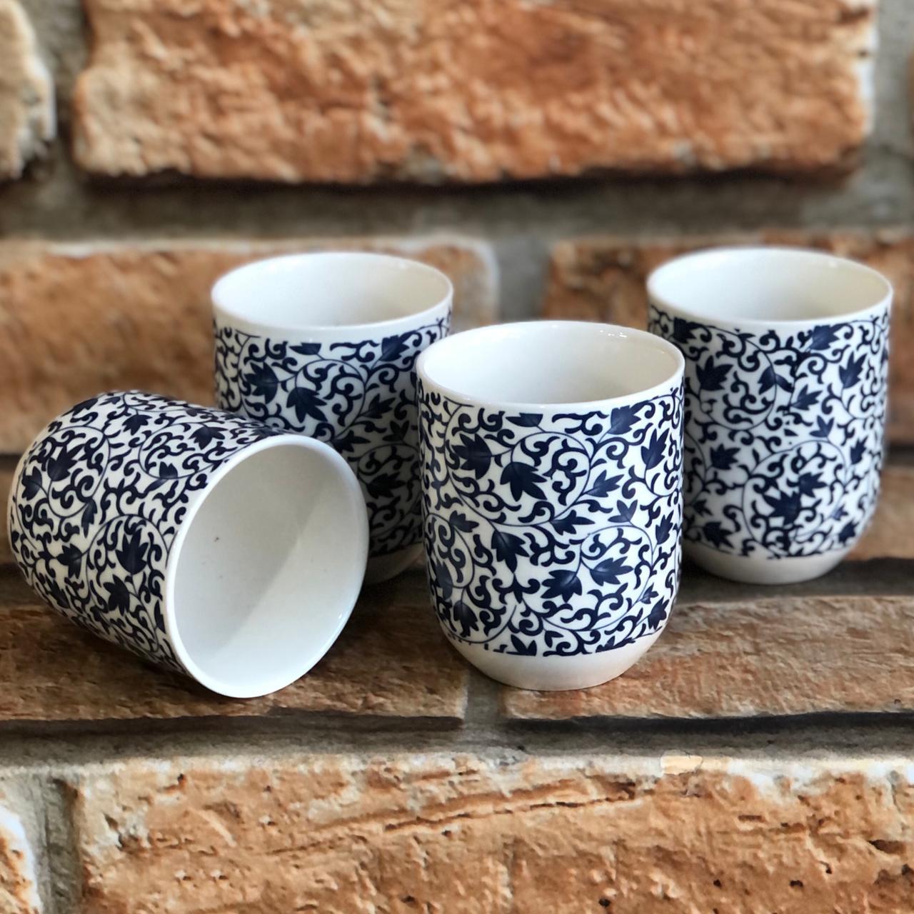 Kit 4 Copos de Chá Oriental em Cerâmica Folhas Azul