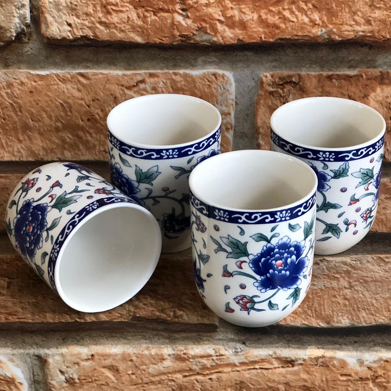 Kit 4 Copos de Chá Oriental em Cerâmica Peônia Azul