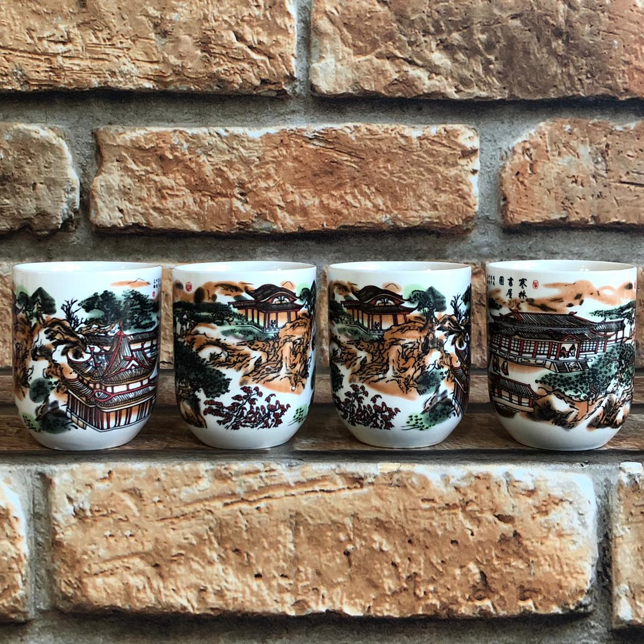 Kit 4 Copos de Chá Oriental em Cerâmica Templo Japonês