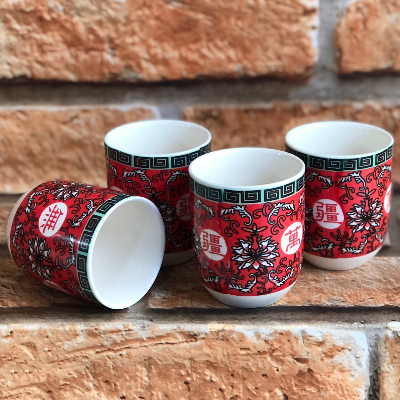 Kit 4 Copos de Chá Oriental em Cerâmica Vermelho