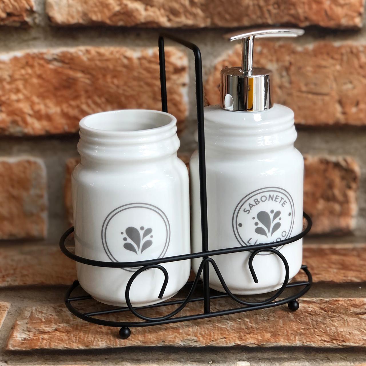 Kit Banheiro Cerâmica com Suporte de Ferro