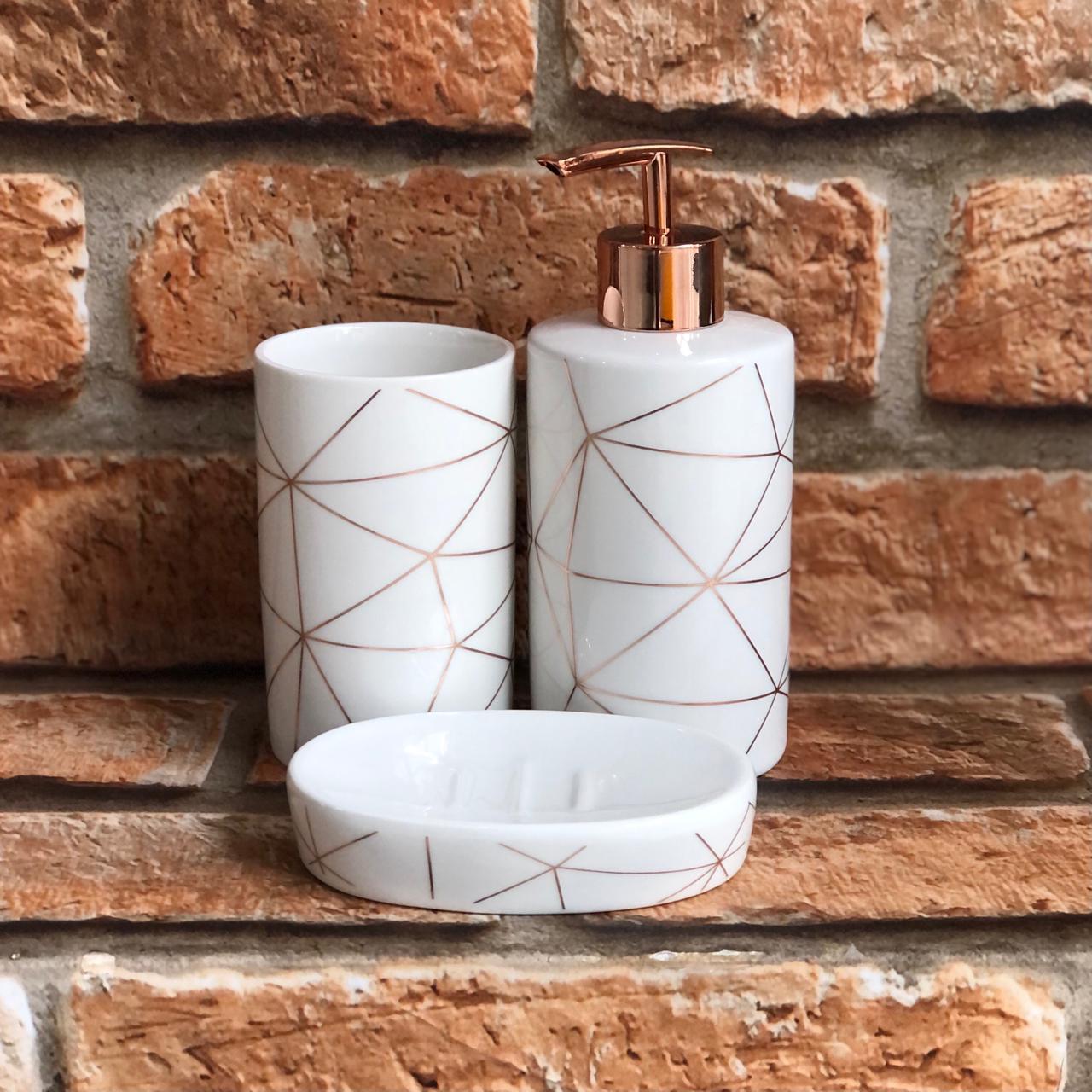 Kit Banheiro Cerâmica Geométrico 3 peças