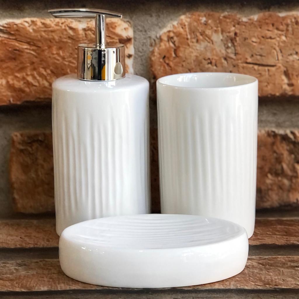 Kit Banheiro de Cerâmica 3 Peças Textura Vertical