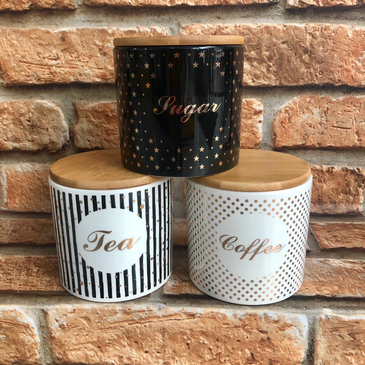 Kit Potes de Cerâmica 3 pçs Café Chá e Açúcar