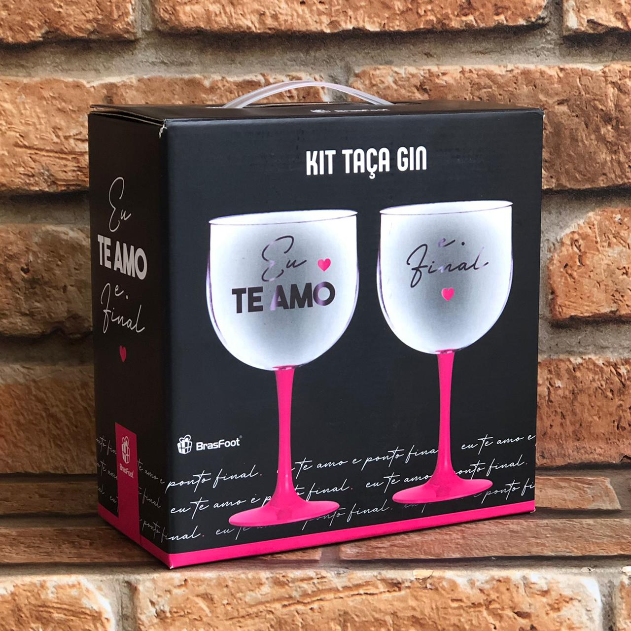 Kit Taça Gin 580ml Te Amo e Ponto Final
