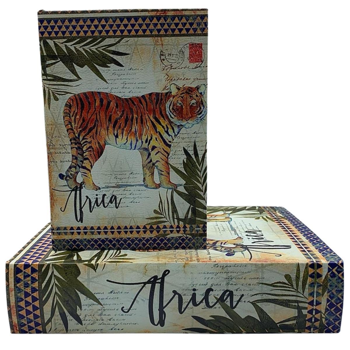 Livro Caixa Decorativo Animais África com 2 peças
