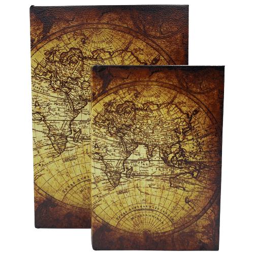 Livro Caixa Decorativo com 2 peças Mapa Mundi