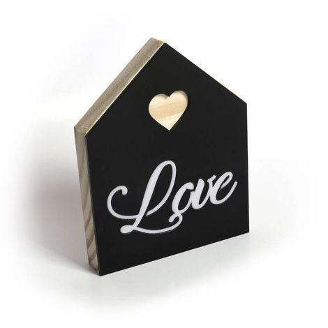"""Placa Casa de Madeira Pinus """"Love"""""""