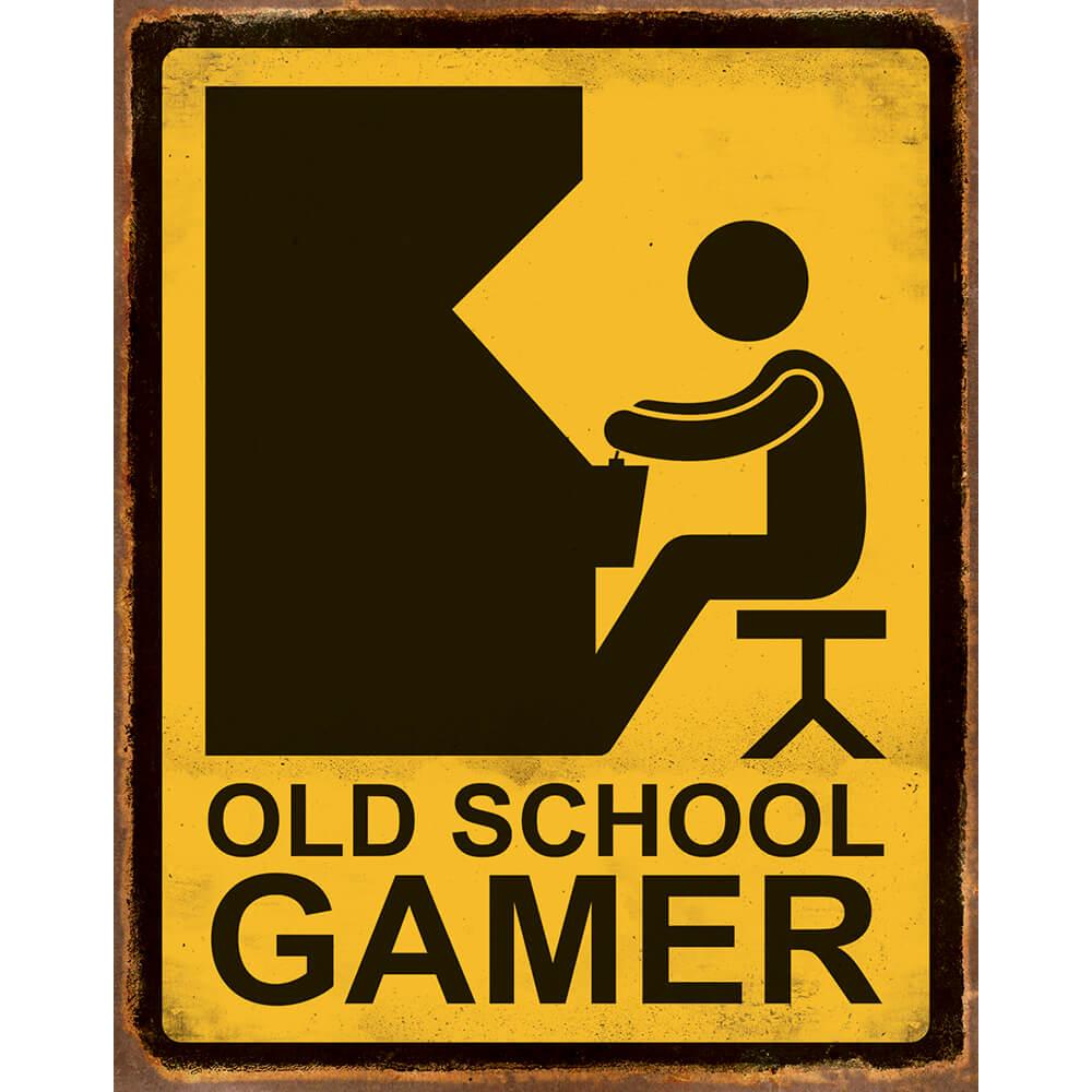 Placa Decorativa Amarela Old School Gamer