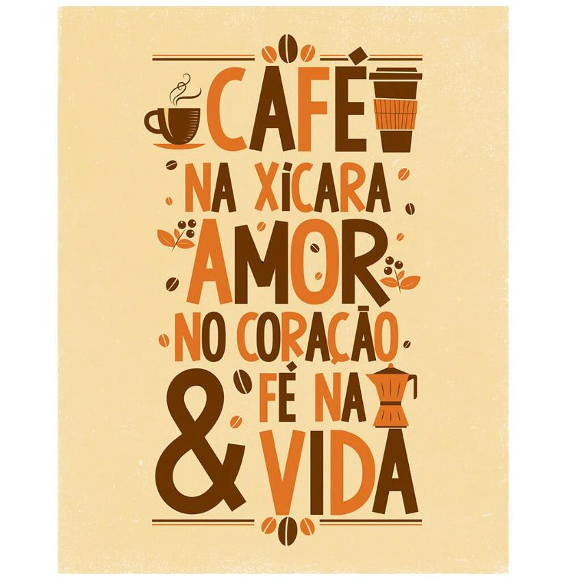 """Placa Decorativa """"Café, Amor e Fé"""""""