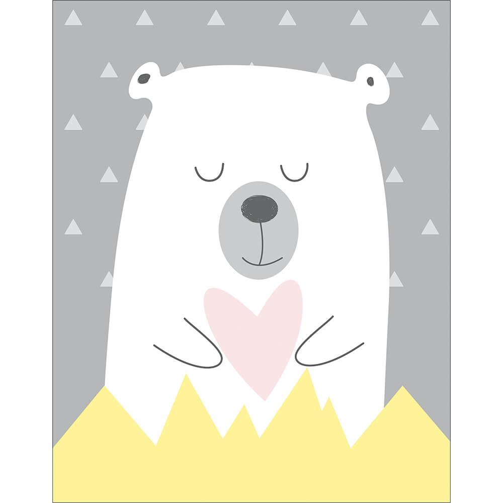 Placa Decorativa Cinza Ursinho Polar Branco