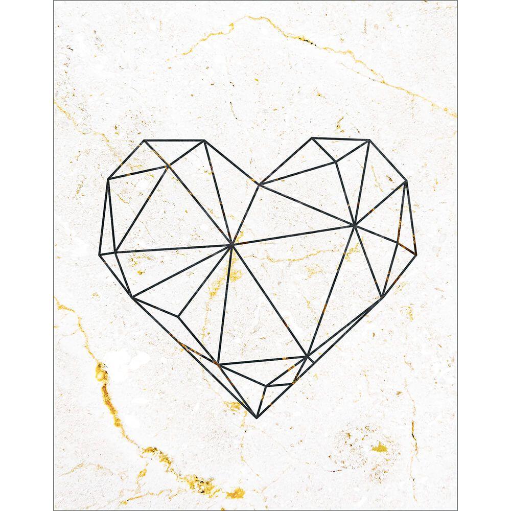 Placa Decorativa Retangular Coração Geométrico