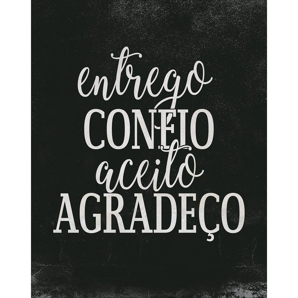 """Placa Decorativa Retangular Preta """"Entrego Confio Aceito Agradeço"""""""