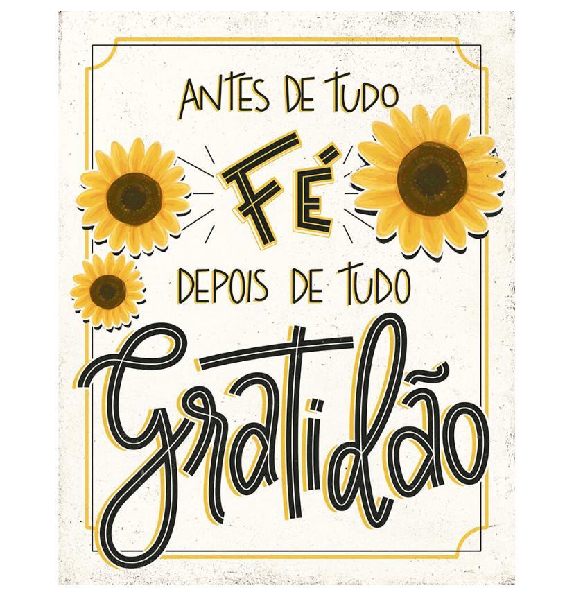 """Placa Decorativa Retangular Girassóis """"Fé e Gratidão"""""""