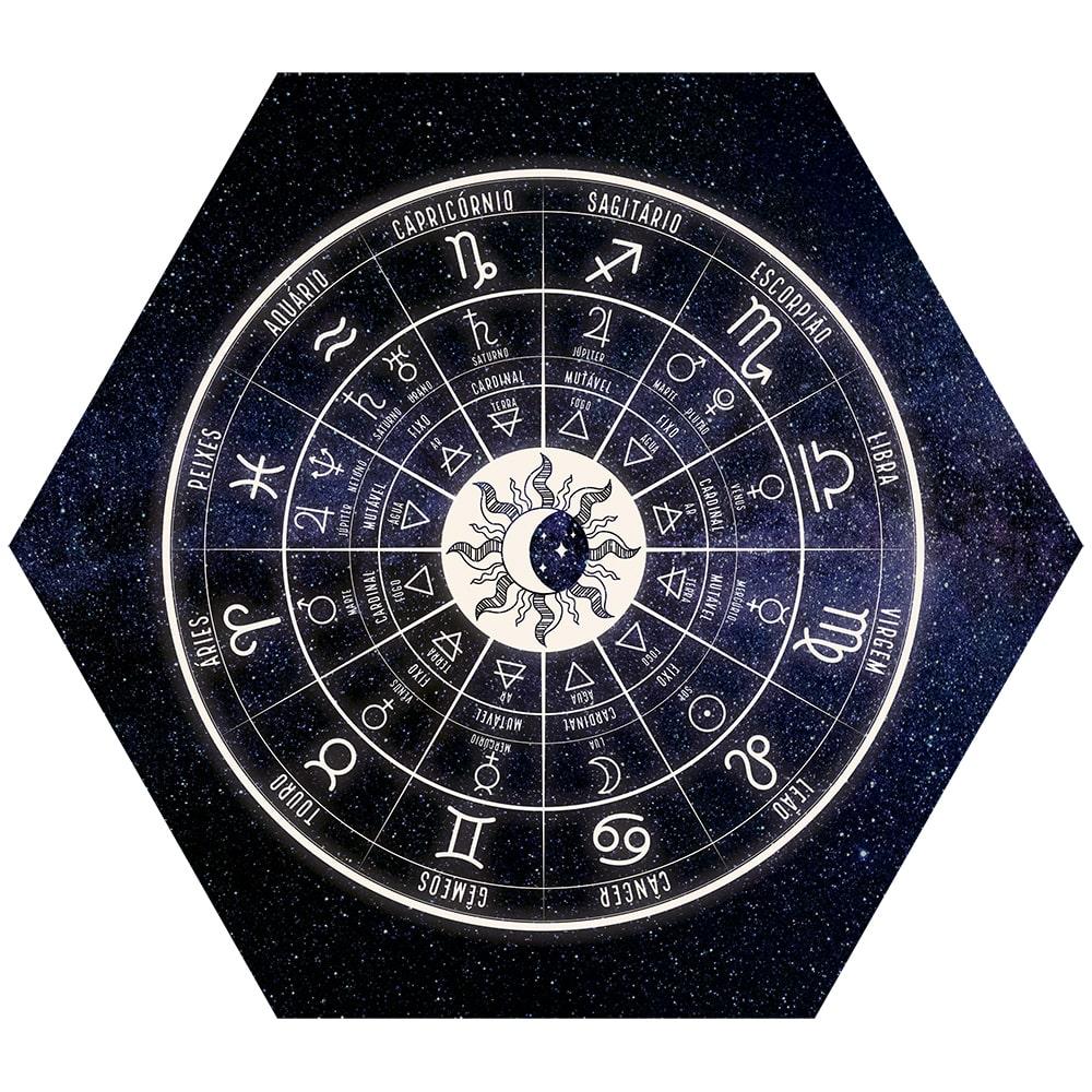 Placa Decorativa Hexagonal Signos