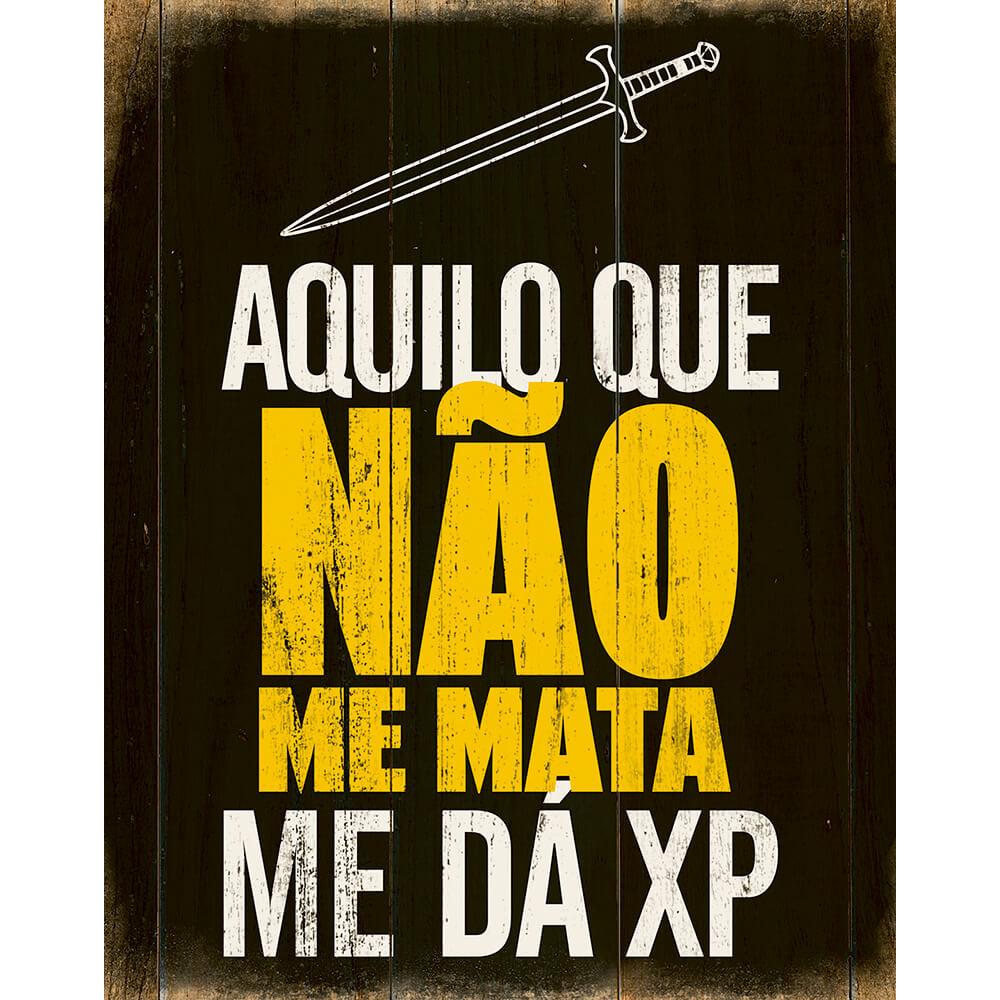 """Placa Decorativa Retangular """"Aquilo Que Não Me Mata Me Dá XP"""""""