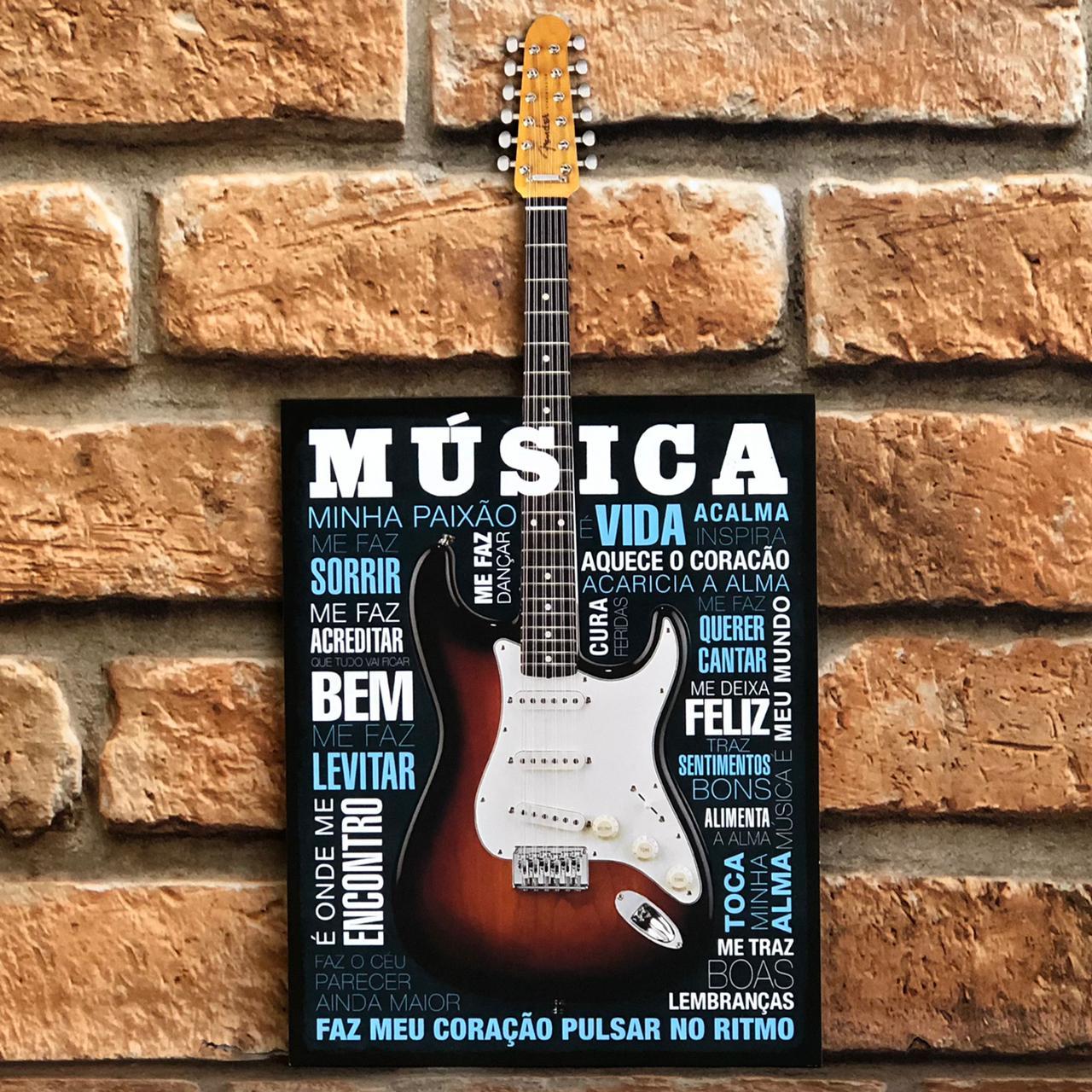 Placa Decorativa Música Faz Meu Coração Pulsar no Ritmo