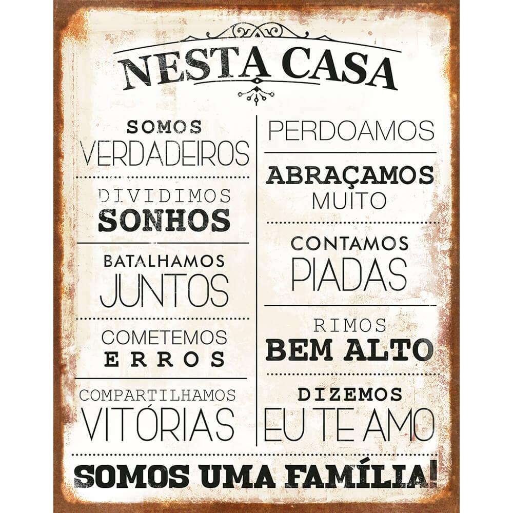 "Placa Decorativa Retangular ""Nesta Casa"""