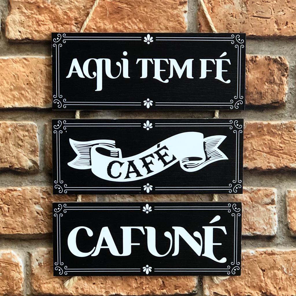 """Placa Decorativa NSW """"Fé Café Cafuné"""""""