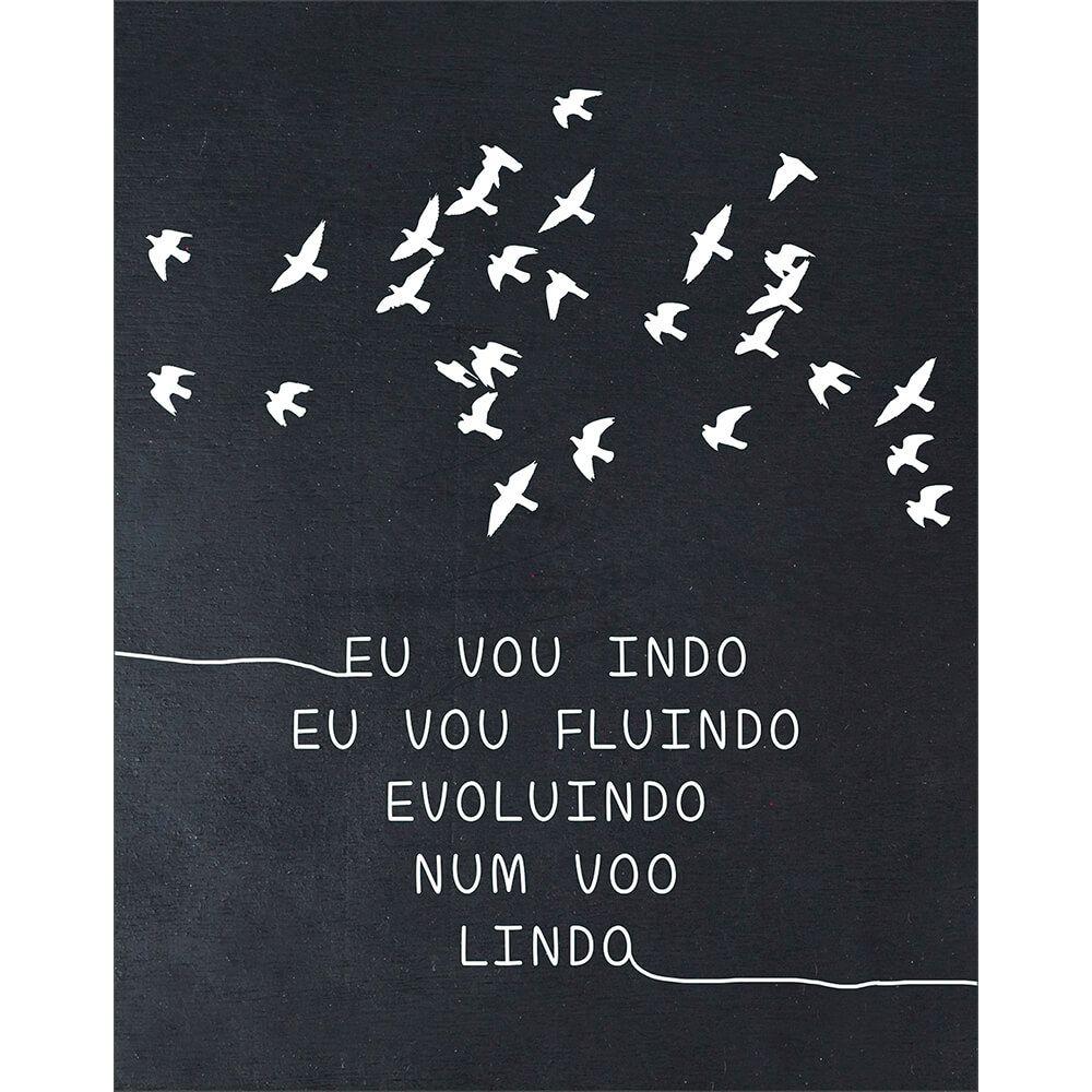 """Placa Decorativa Retangular """"Num Voo Lindo"""""""