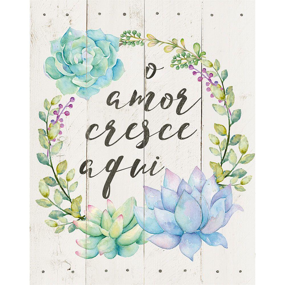 """Placa Decorativa Retangular """"O Amor Cresce Aqui"""""""