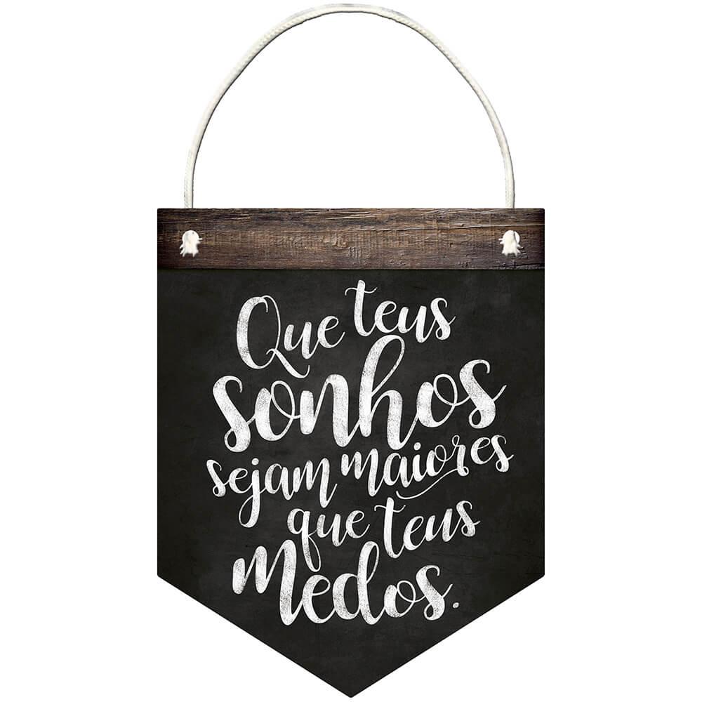 """Placa Decorativa com Cordâo """"Que Teus Sonhos sejam..."""""""
