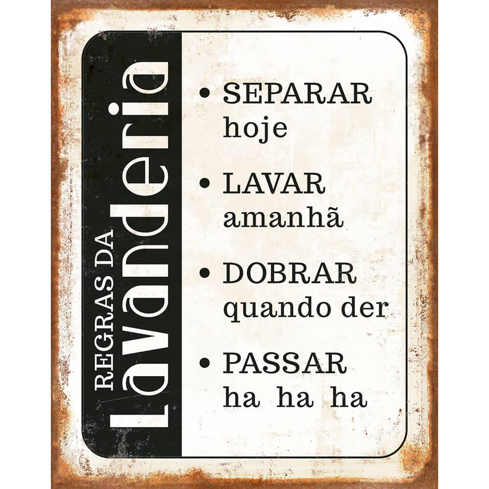 """Placa Decorativa ''Regras da Lavanderia"""""""