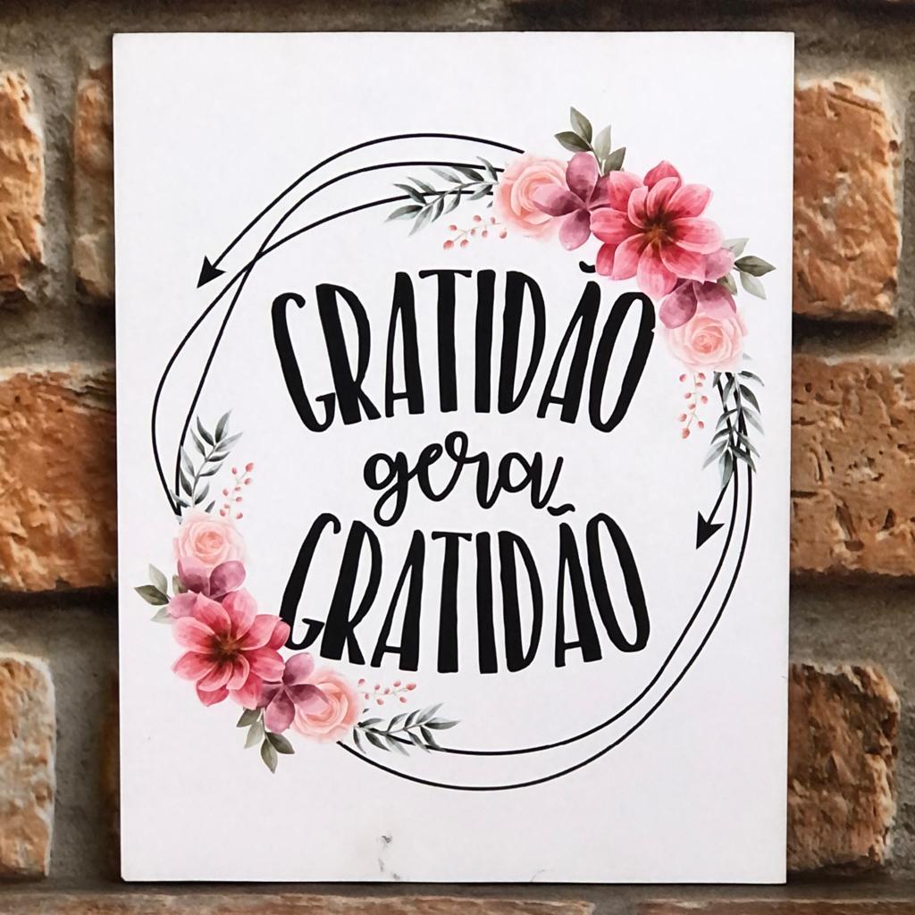 """Placa Decorativa Retangular Ciclo """"Gratidão Gera Gratidão"""""""