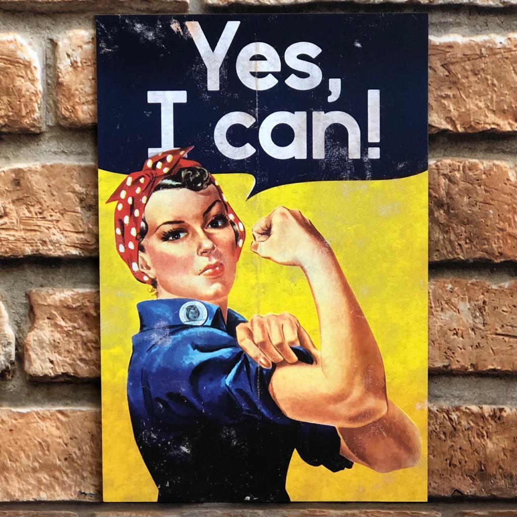 "Placa Decorativa Retangular Naomi Parker ""Yes, I Can"""