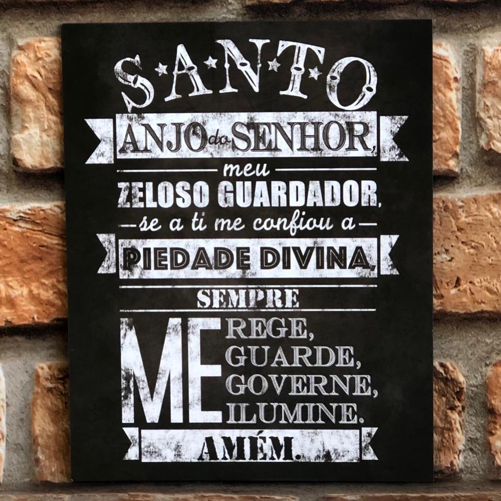 "Placa Decorativa Retangular ""Santo Anjo"""