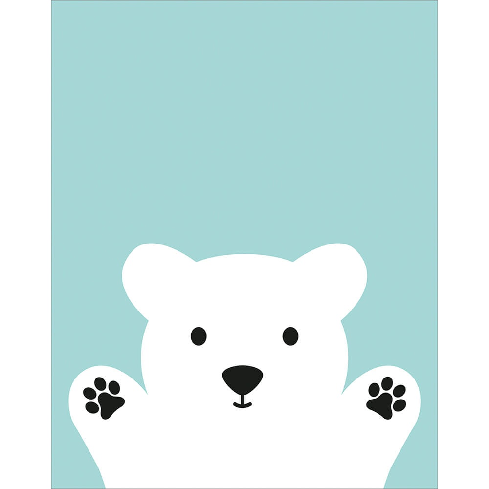 Placa Decorativa Retangular Ursinho Branco