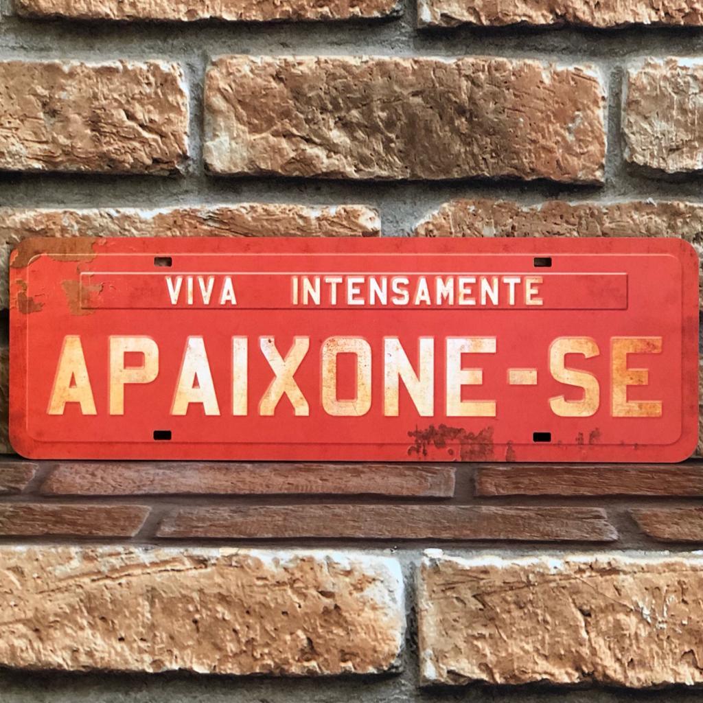 "Placa Decorativa Retangular ""Viva Intensamente, Apaixone-se"""
