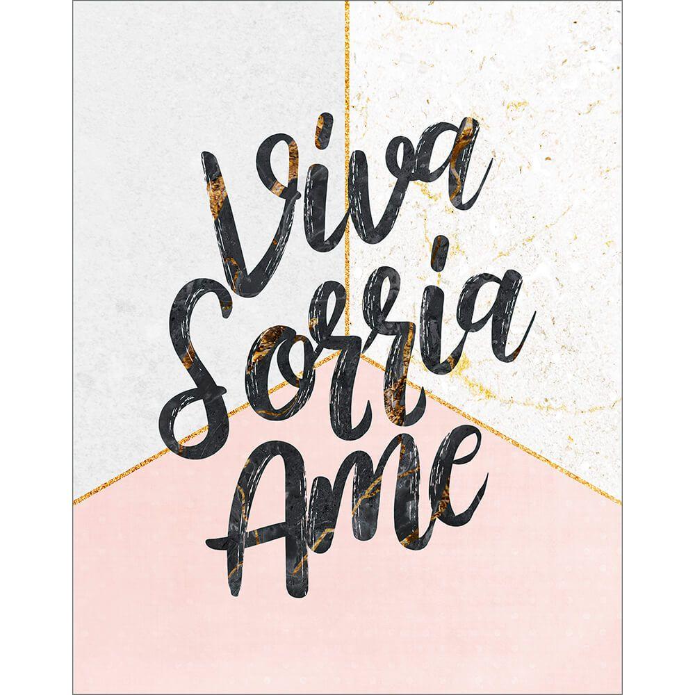 """Placa Decorativa ''Viva, Sorria, Ame"""""""