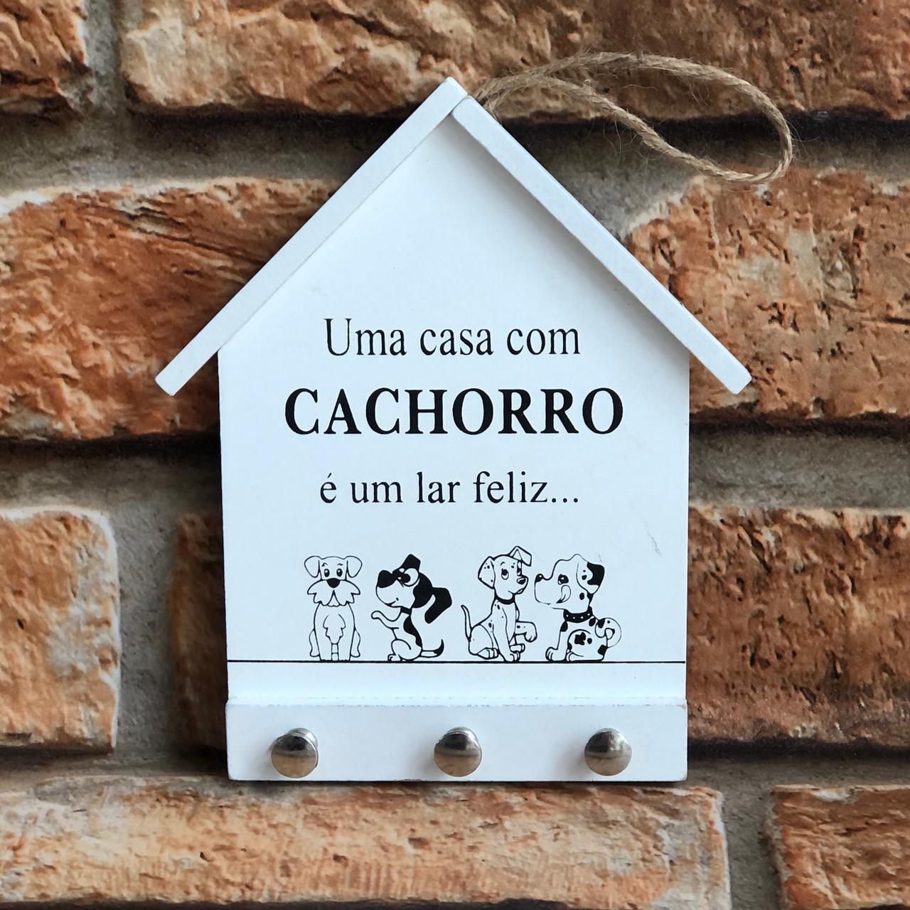 Porta Chaves Casa com 3 Ganchos