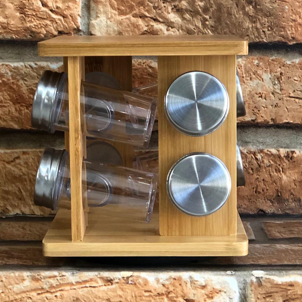Porta Condimentos Giratório de Bambu 8 Peças