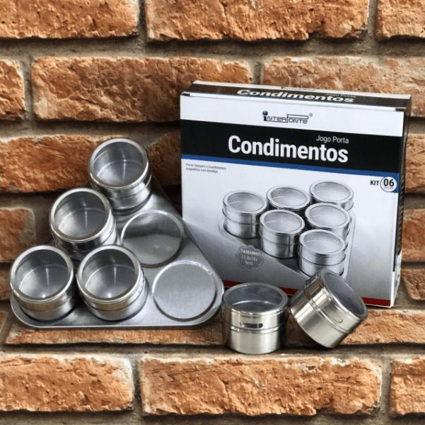 Porta Condimentos Magnético Inox 6 Potes