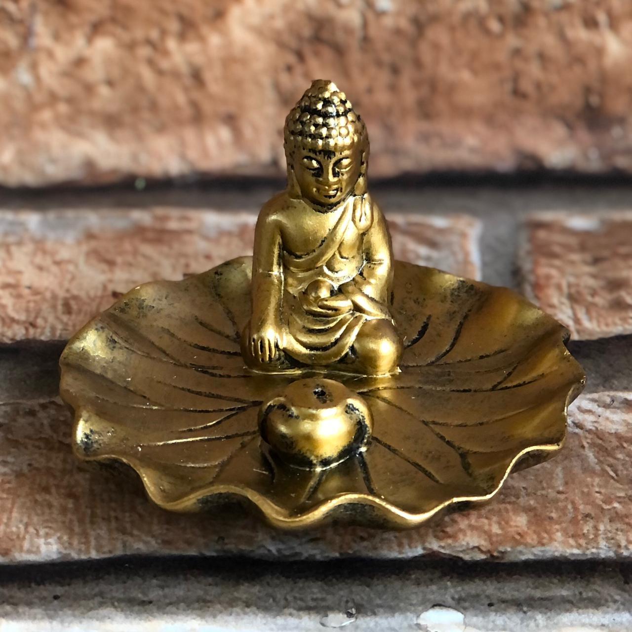 Porta Incenso Ondas com Estatua Buda Dourado