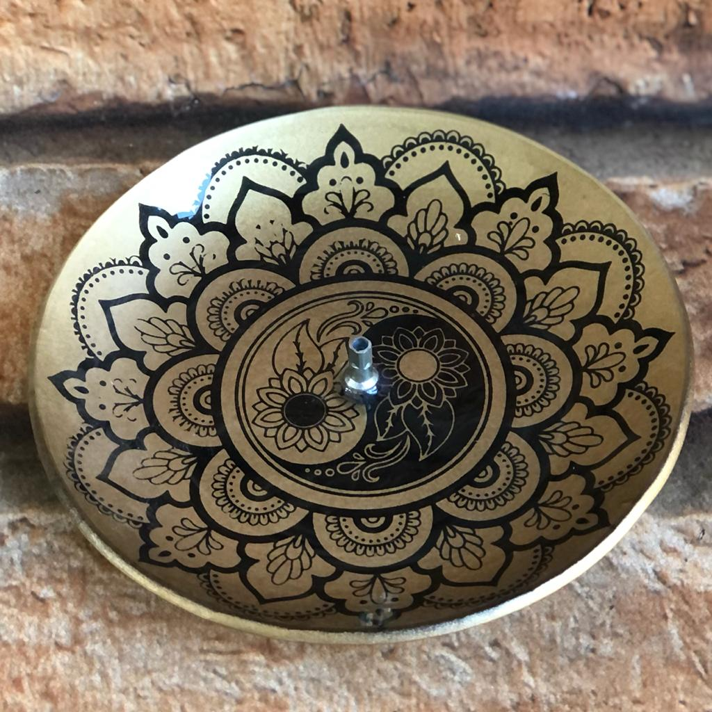 Porta Incenso Decorativo Redondo de Vidro Mandalas