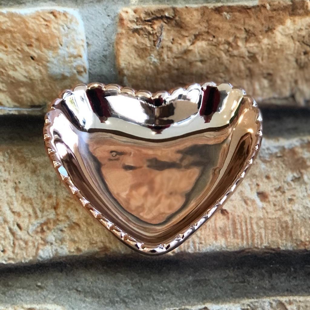 Porta Jóias de Porcelana Cromado Coração