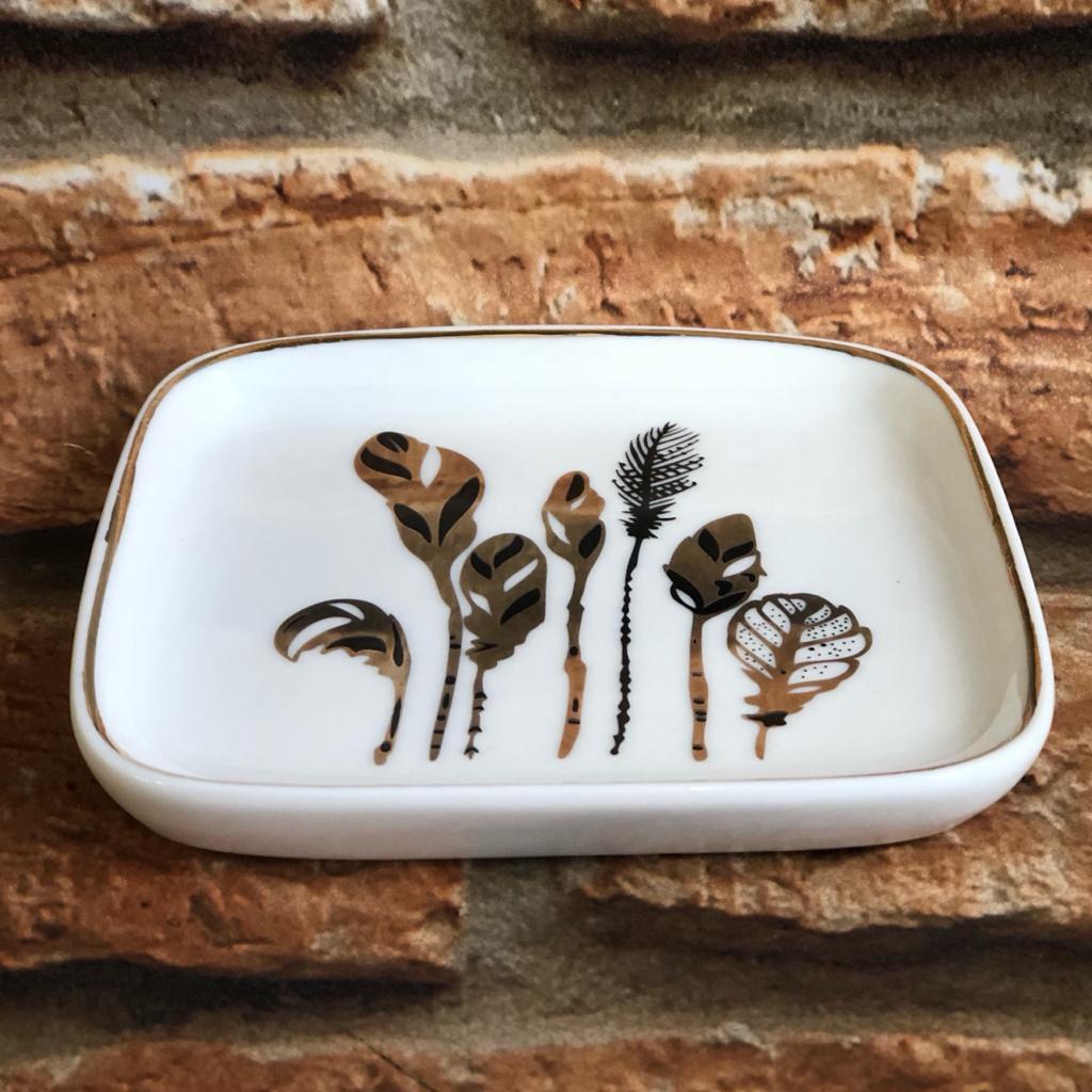 Porta Jóias de Porcelana Folhas