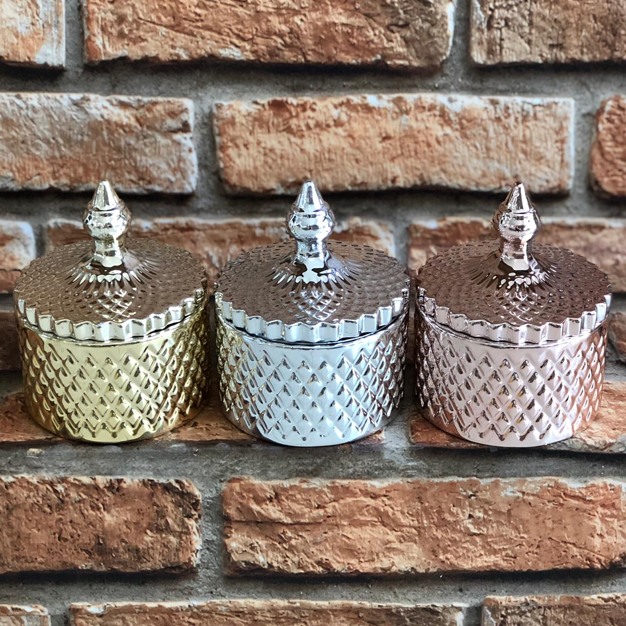 Pote Decorativo Cerâmica com Tampa P