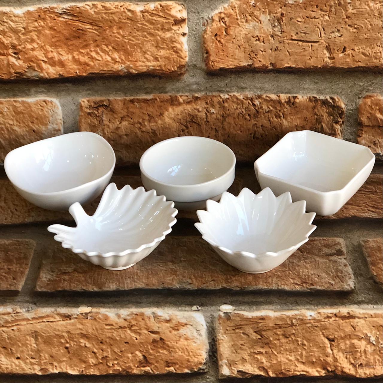 Petisqueiras Individuais de Porcelana Branca
