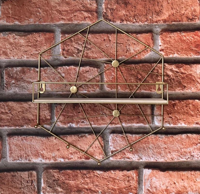 Prateleira Aramada com Ganchos Hexagonal
