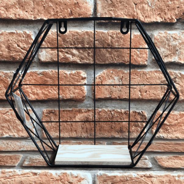 Prateleira Decorativa Nicho Hexagonal de Metal